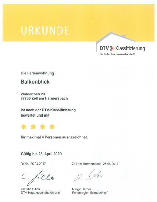 """Urkunde DTV Klassifizierung """"Wälderhof Balkonblick"""" 4 Sterne"""