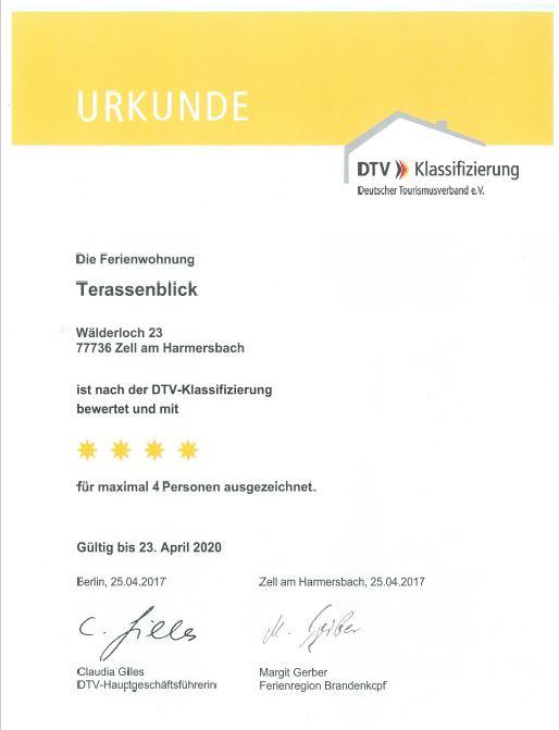 "Urkunde DTV Klassifizierung ""Wälderhof Terrassenblick"" 4 Sterne"