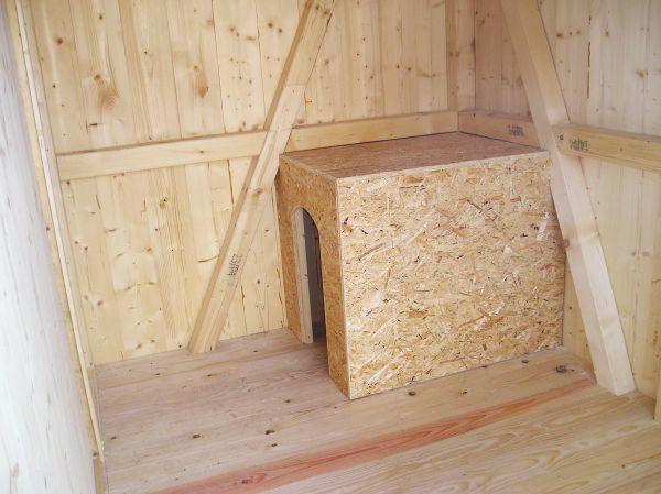 In jeder Box des Hundezwingers befindet sich eine Hundehütte