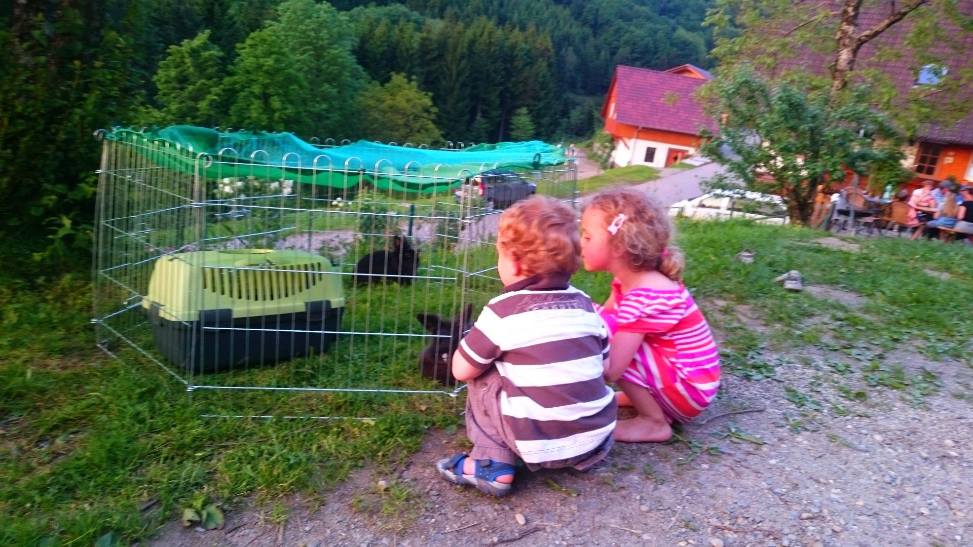 Eva und Marco bei den Kaninchen